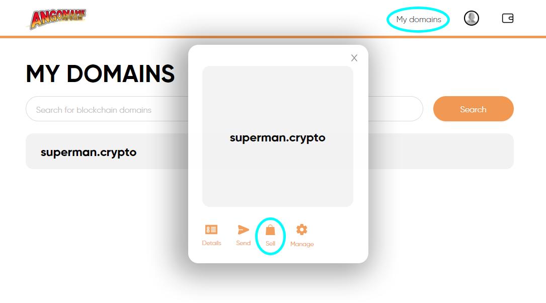 Sell blockchain domain on angoname